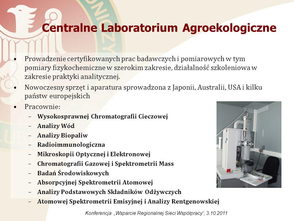 Centralne Laboratorium Agroekologiczne Aminokwasy i aminy biogenne Badania podstawowe Badania wód Cukry rozpuszczalne w wodzie Mikotoksyny Mikroskopia - przygotowanie preparatów oraz korzystanie z mikroskopów Pestycydy Pomiar z wykorzystaniem gammautomatu (lub pomiar luminescencji) Przygotowanie prób do oznaczeń Skład mineralny w glebach, w materiałach stałych, zawiesinach itp.