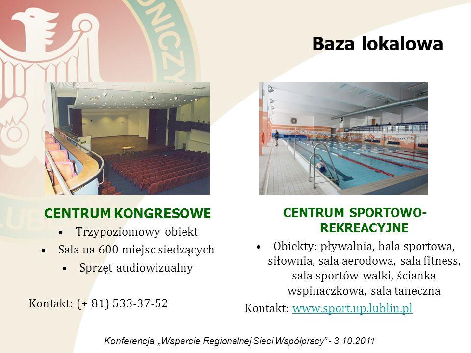 Baza lokalowa CENTRUM KONGRESOWE Trzypoziomowy obiekt Sala na 600 miejsc siedzących Sprzęt audiowizualny Kontakt: (+ 81) 533-37-52 CENTRUM SPORTOWO- R