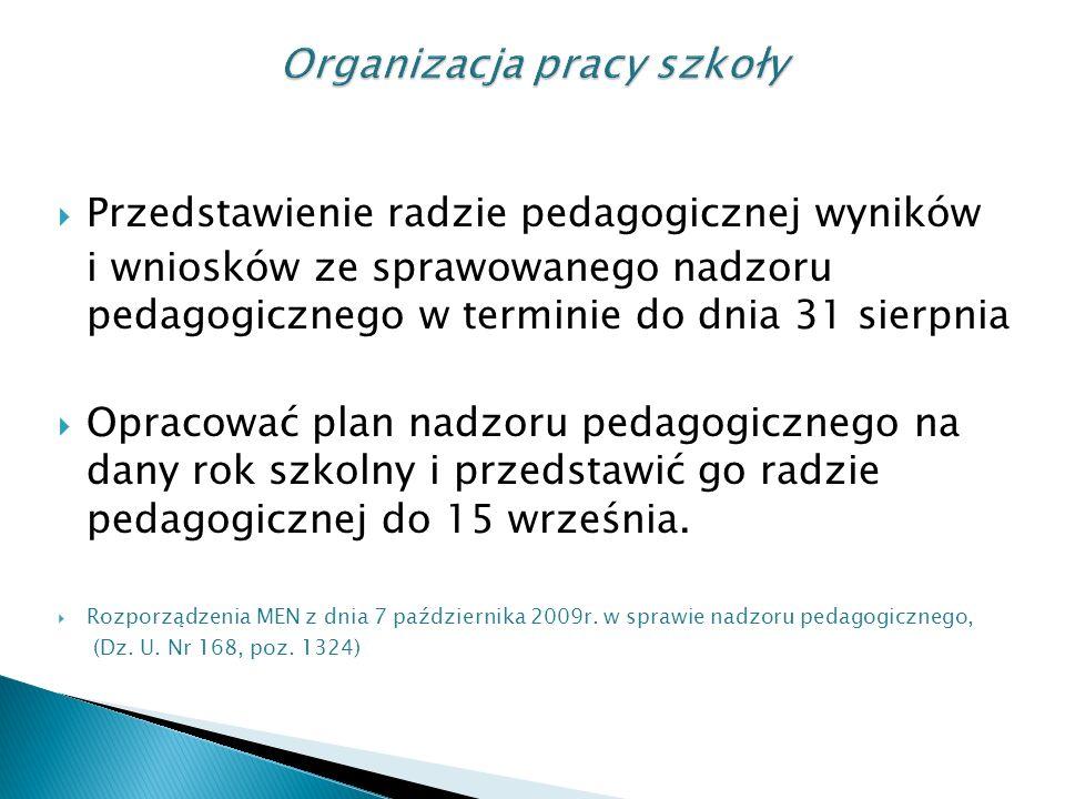 Przedstawienie radzie pedagogicznej wyników i wniosków ze sprawowanego nadzoru pedagogicznego w terminie do dnia 31 sierpnia Opracować plan nadzoru pedagogicznego na dany rok szkolny i przedstawić go radzie pedagogicznej do 15 września.