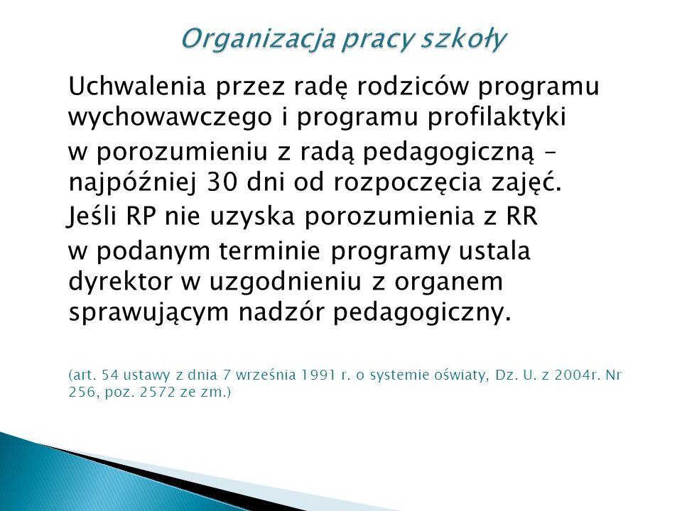 Uchwalenia przez radę rodziców programu wychowawczego i programu profilaktyki w porozumieniu z radą pedagogiczną – najpóźniej 30 dni od rozpoczęcia zajęć.