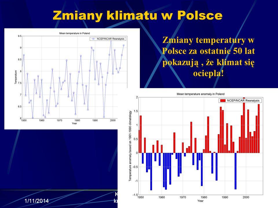 Zmiany klimatu w Polsce 1/11/2014 Krzysztof Markowicz kmark@igf.fuw.edu.pl Zmiany temperatury w Polsce za ostatnie 50 lat pokazują, że klimat się ocie