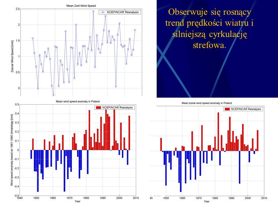 1/11/2014 Krzysztof Markowicz kmark@igf.fuw.edu.pl Obserwuje się rosnący trend prędkości wiatru i silniejszą cyrkulację strefowa.