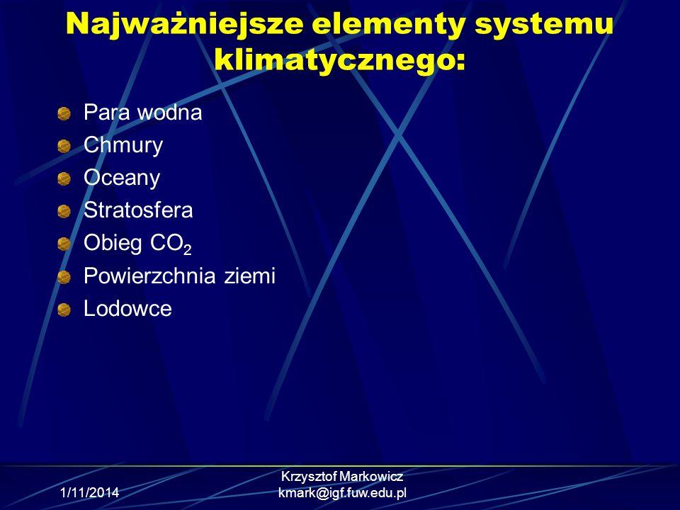1/11/2014 Krzysztof Markowicz kmark@igf.fuw.edu.pl Najważniejsze elementy systemu klimatycznego: Para wodna Chmury Oceany Stratosfera Obieg CO 2 Powie