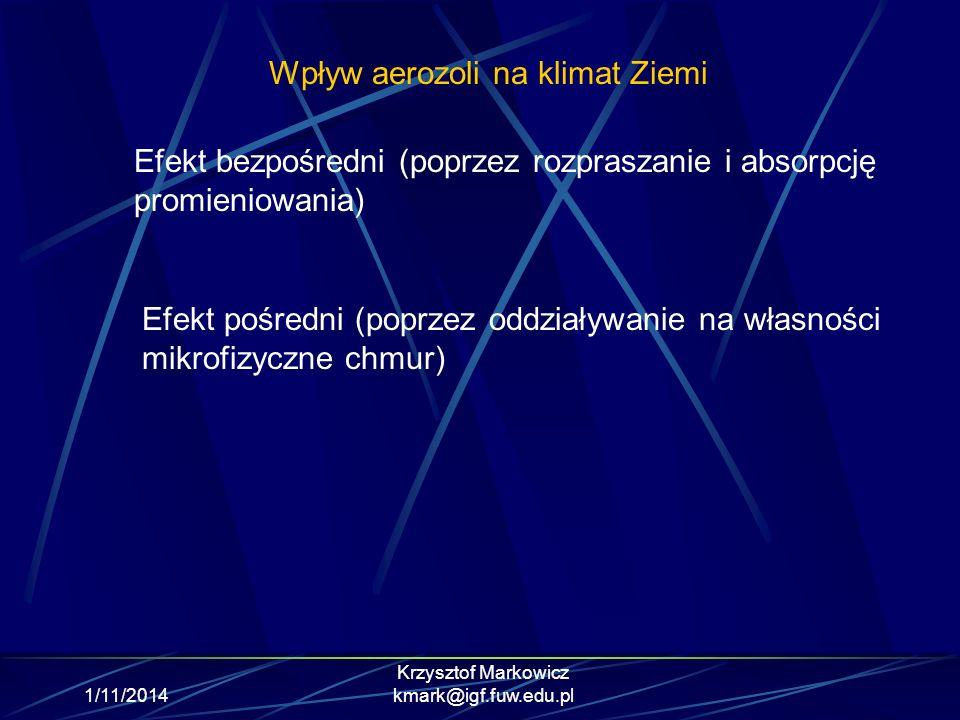 1/11/2014 Krzysztof Markowicz kmark@igf.fuw.edu.pl Wpływ aerozoli na klimat Ziemi Efekt bezpośredni (poprzez rozpraszanie i absorpcję promieniowania)