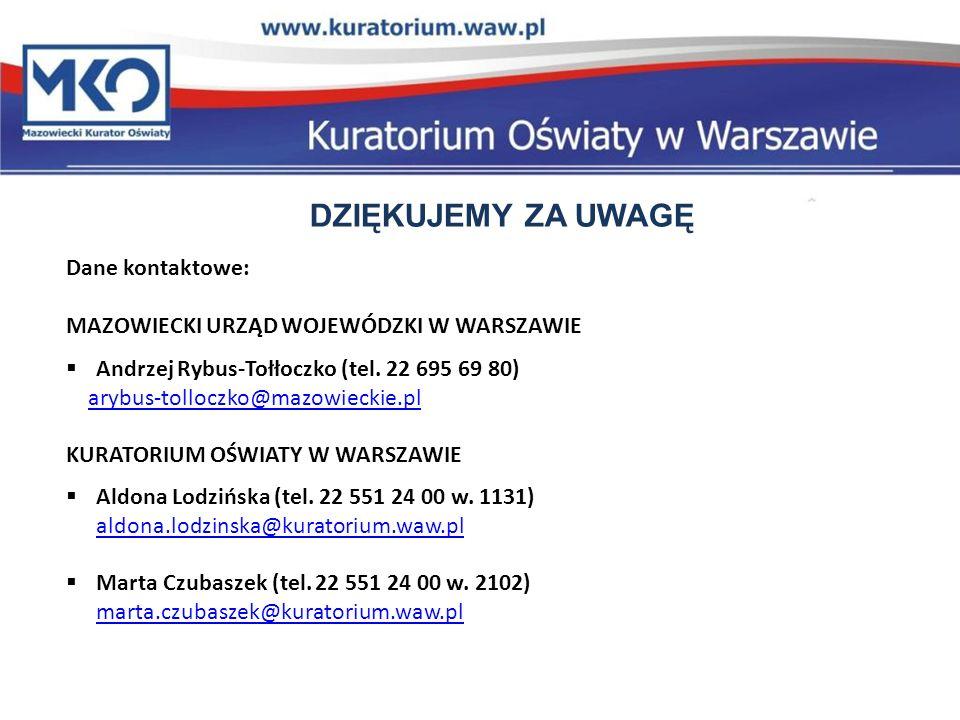 DZIĘKUJEMY ZA UWAGĘ Dane kontaktowe: MAZOWIECKI URZĄD WOJEWÓDZKI W WARSZAWIE Andrzej Rybus-Tołłoczko (tel.