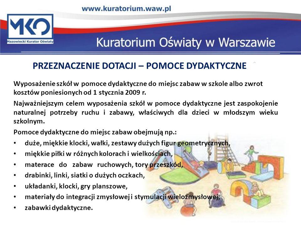 Wyposażenie szkół w pomoce dydaktyczne do miejsc zabaw w szkole albo zwrot kosztów poniesionych od 1 stycznia 2009 r.