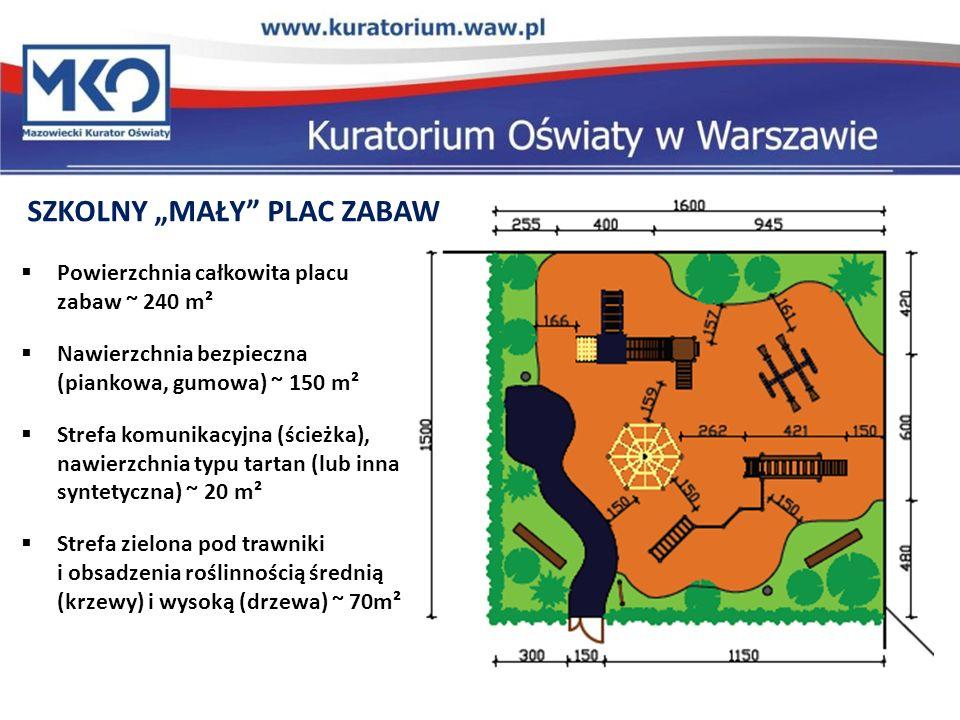 SZKOLNY MAŁY PLAC ZABAW Powierzchnia całkowita placu zabaw ~ 240 m² Nawierzchnia bezpieczna (piankowa, gumowa) ~ 150 m² Strefa komunikacyjna (ścieżka), nawierzchnia typu tartan (lub inna syntetyczna) ~ 20 m² Strefa zielona pod trawniki i obsadzenia roślinnością średnią (krzewy) i wysoką (drzewa) ~ 70m²