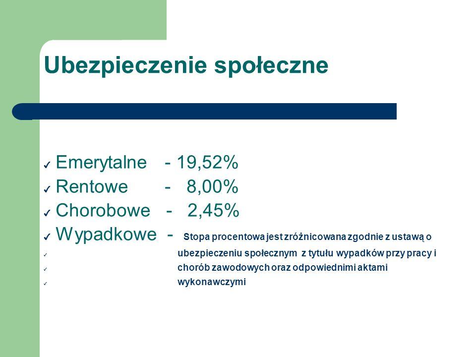 Ubezpieczenie społeczne Emerytalne - 19,52% Rentowe - 8,00% Chorobowe - 2,45% Wypadkowe - Stopa procentowa jest zróżnicowana zgodnie z ustawą o ubezpi