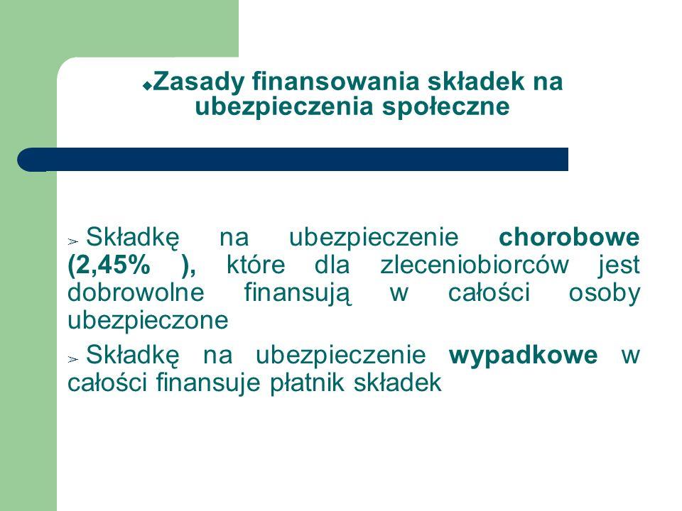 Zasady finansowania składek na ubezpieczenia społeczne Składkę na ubezpieczenie chorobowe (2,45% ), które dla zleceniobiorców jest dobrowolne finansuj
