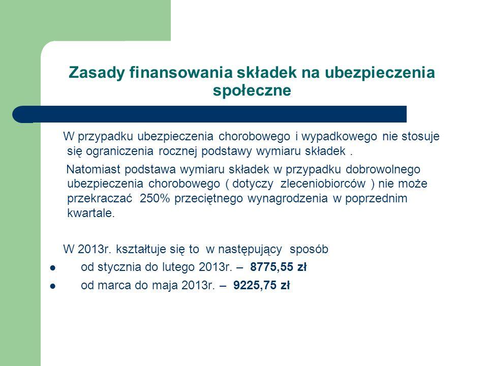 Zasady finansowania składek na ubezpieczenia społeczne W przypadku ubezpieczenia chorobowego i wypadkowego nie stosuje się ograniczenia rocznej podsta