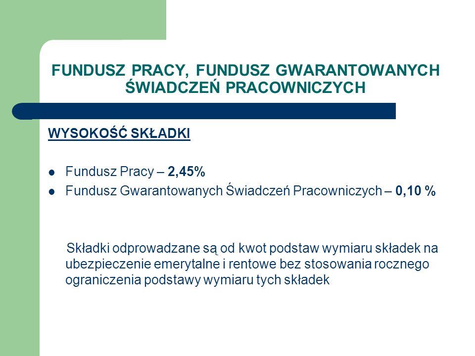 FUNDUSZ PRACY, FUNDUSZ GWARANTOWANYCH ŚWIADCZEŃ PRACOWNICZYCH WYSOKOŚĆ SKŁADKI Fundusz Pracy – 2,45% Fundusz Gwarantowanych Świadczeń Pracowniczych –