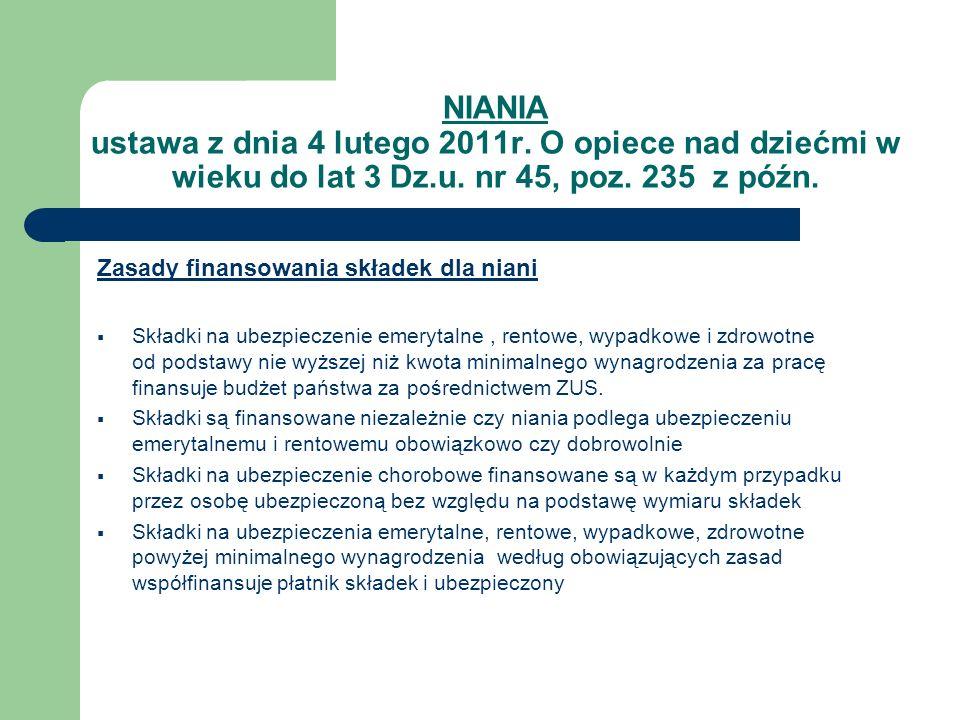 NIANIA ustawa z dnia 4 lutego 2011r. O opiece nad dziećmi w wieku do lat 3 Dz.u. nr 45, poz. 235 z późn. Zasady finansowania składek dla niani Składki