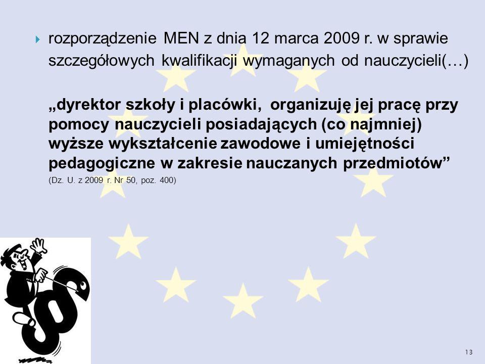 rozporządzenie MEN z dnia 12 marca 2009 r. w sprawie szczegółowych kwalifikacji wymaganych od nauczycieli(…) dyrektor szkoły i placówki, organizuję je