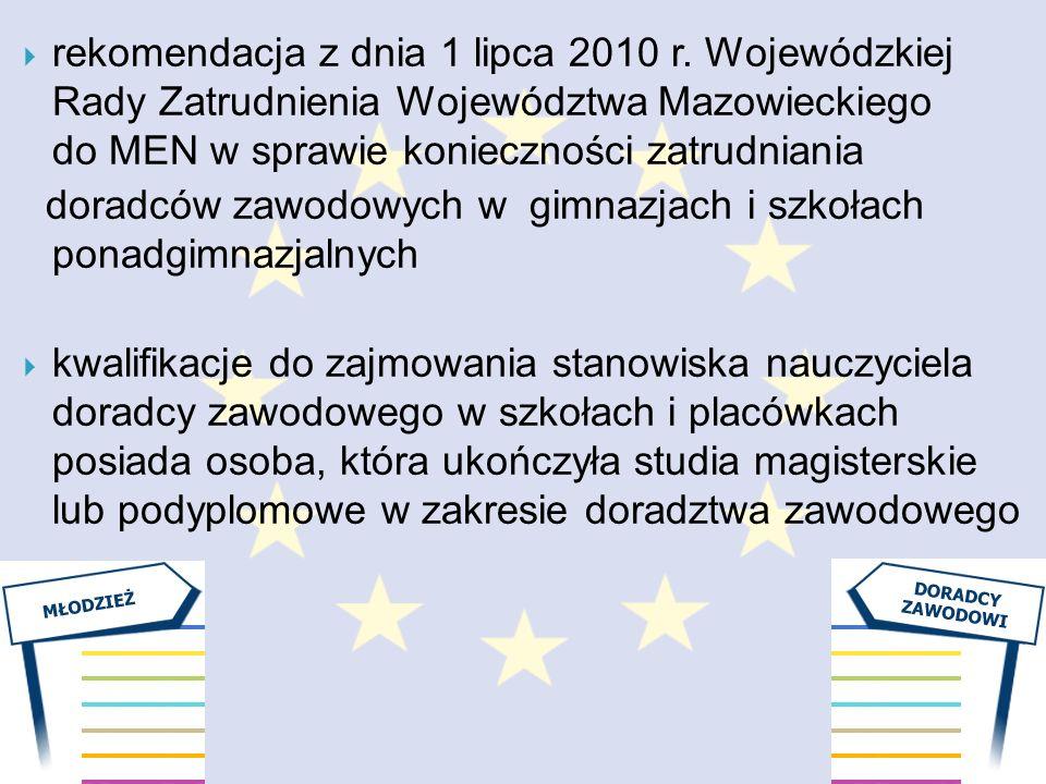 rekomendacja z dnia 1 lipca 2010 r. Wojewódzkiej Rady Zatrudnienia Województwa Mazowieckiego do MEN w sprawie konieczności zatrudniania doradców zawod