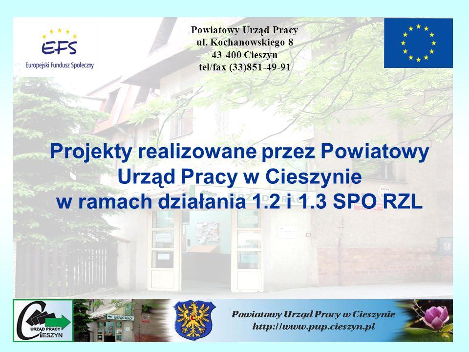Projekty realizowane przez Powiatowy Urząd Pracy w Cieszynie w ramach działania 1.2 i 1.3 SPO RZL Powiatowy Urząd Pracy ul. Kochanowskiego 8 43-400 Ci