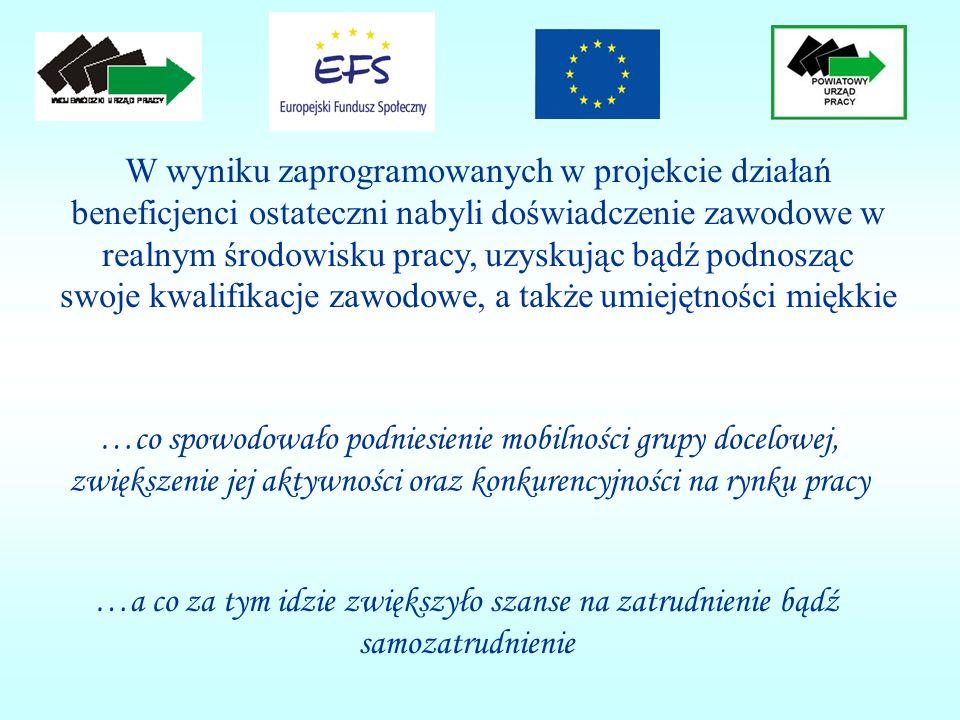 …co spowodowało podniesienie mobilności grupy docelowej, zwiększenie jej aktywności oraz konkurencyjności na rynku pracy W wyniku zaprogramowanych w p