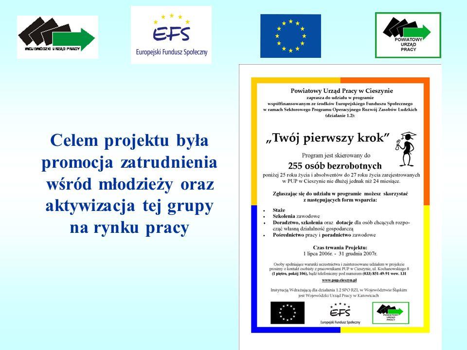 Celem projektu była promocja zatrudnienia wśród młodzieży oraz aktywizacja tej grupy na rynku pracy