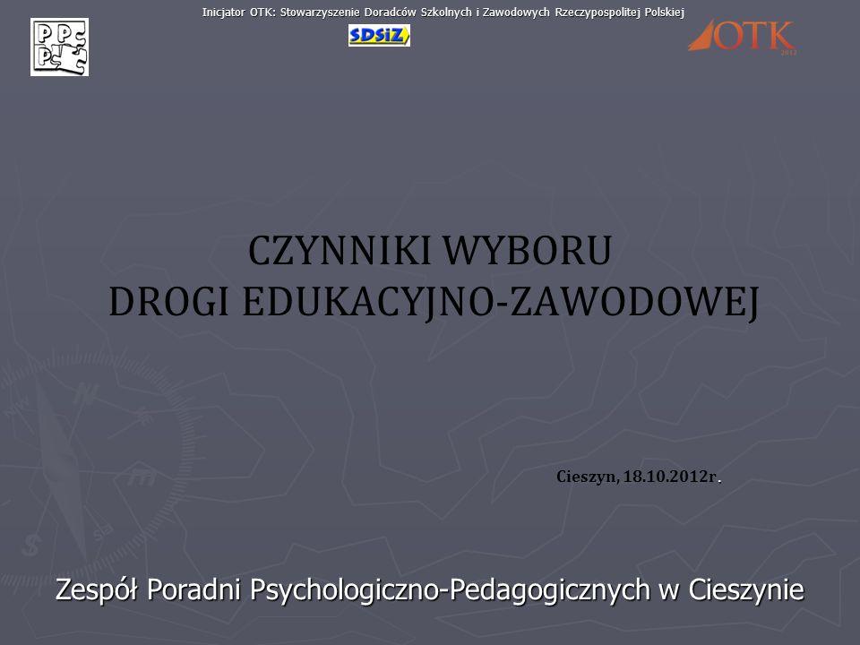 Zespół Poradni Psychologiczno-Pedagogicznych w Cieszynie Inicjator OTK: Stowarzyszenie Doradców Szkolnych i Zawodowych Rzeczypospolitej Polskiej CZYNN