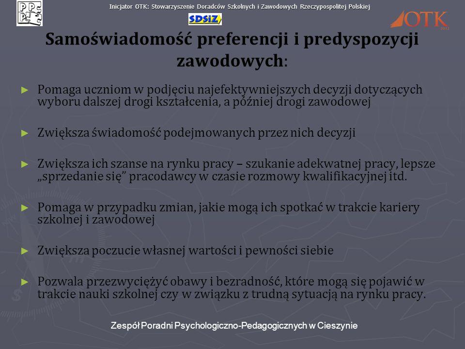 Inicjator OTK: Stowarzyszenie Doradców Szkolnych i Zawodowych Rzeczypospolitej Polskiej Zespół Poradni Psychologiczno-Pedagogicznych w Cieszynie Samoś