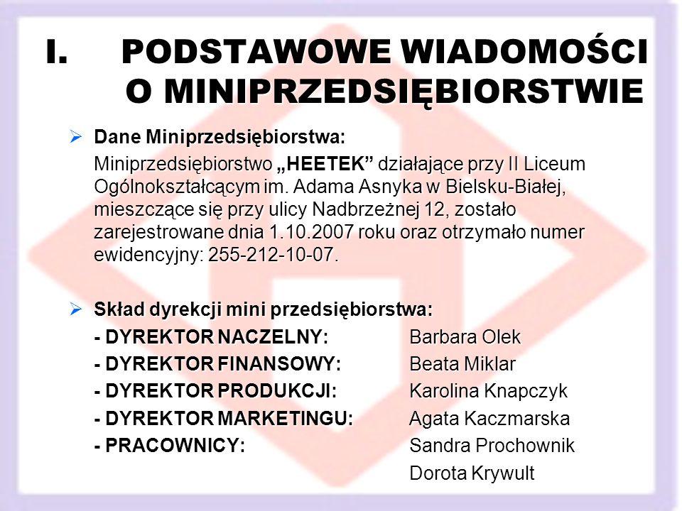 I.PODSTAWOWE WIADOMOŚCI O MINIPRZEDSIĘBIORSTWIE Dane Miniprzedsiębiorstwa: Dane Miniprzedsiębiorstwa: Miniprzedsiębiorstwo HEETEK działające przy II Liceum Ogólnokształcącym im.