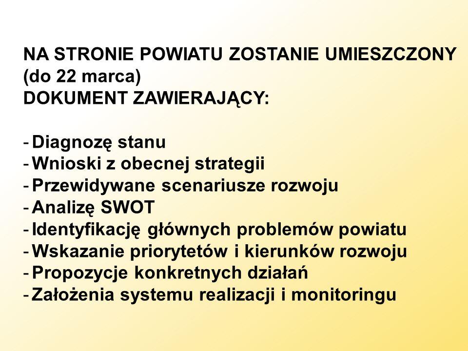 NA STRONIE POWIATU ZOSTANIE UMIESZCZONY (do 22 marca) DOKUMENT ZAWIERAJĄCY: -Diagnozę stanu -Wnioski z obecnej strategii -Przewidywane scenariusze roz