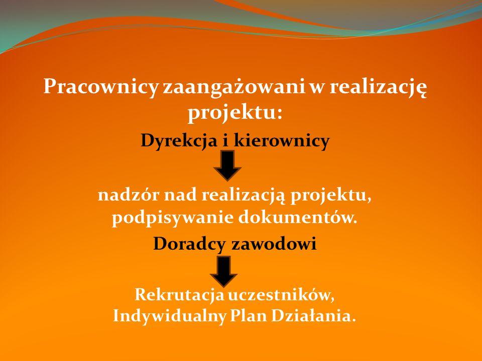 Pracownicy zaangażowani w realizację projektu: Dyrekcja i kierownicy nadzór nad realizacją projektu, podpisywanie dokumentów.