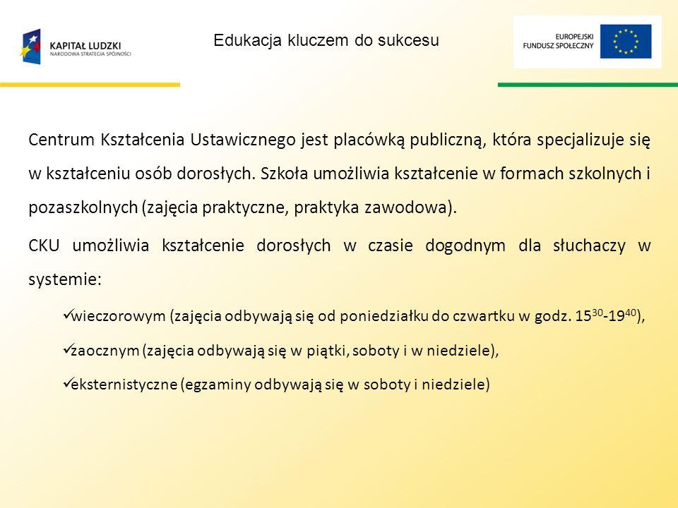 Publiczna oferta edukacyjna dla osób dorosłych Maria Szalewska Dyrektor Centrum Kształcenia Ustawicznego w Kościerzynie Edukacja kluczem do sukcesu