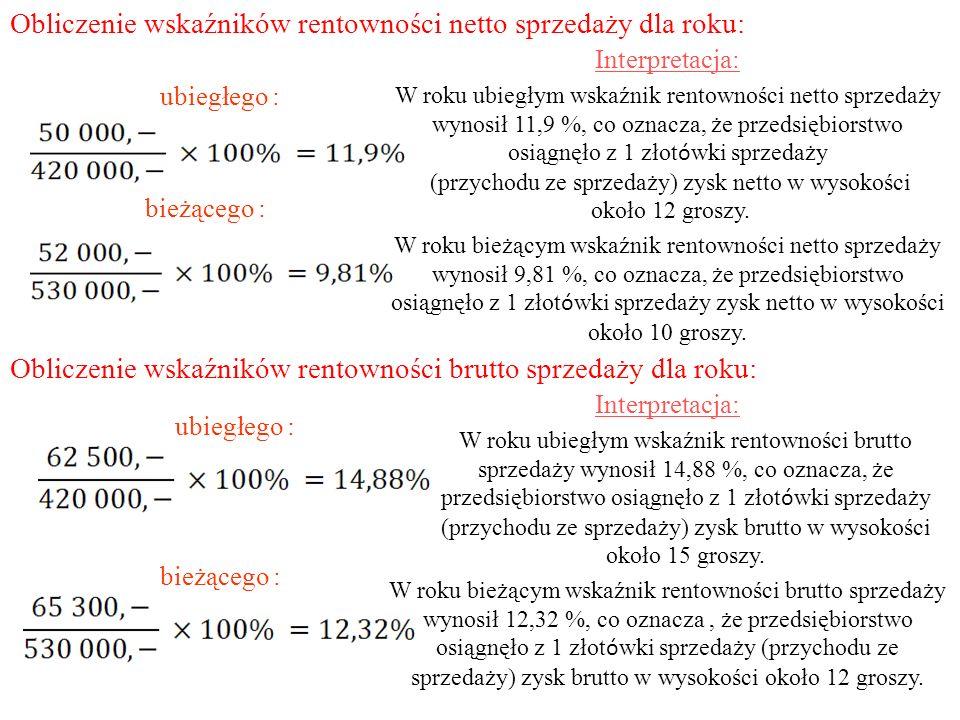 Obliczenie wskaźników rentowności netto sprzedaży dla roku: ubiegłego : bieżącego : Obliczenie wskaźników rentowności brutto sprzedaży dla roku: ubieg