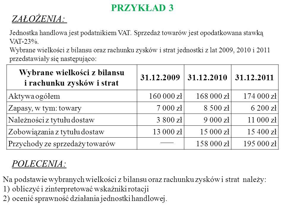 PRZYKŁAD 3 ZAŁOŻENIA: POLECENIA: Jednostka handlowa jest podatnikiem VAT. Sprzedaż towarów jest opodatkowana stawką VAT-23%. Wybrane wielkości z bilan