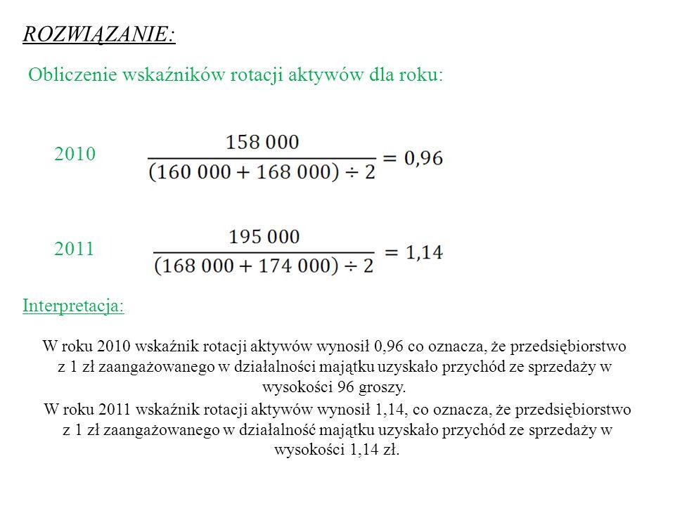 ROZWIĄZANIE: Obliczenie wskaźników rotacji aktywów dla roku: 2010 2011 W roku 2010 wskaźnik rotacji aktywów wynosił 0,96 co oznacza, że przedsiębiorstwo z 1 zł zaangażowanego w działalności majątku uzyskało przychód ze sprzedaży w wysokości 96 groszy.