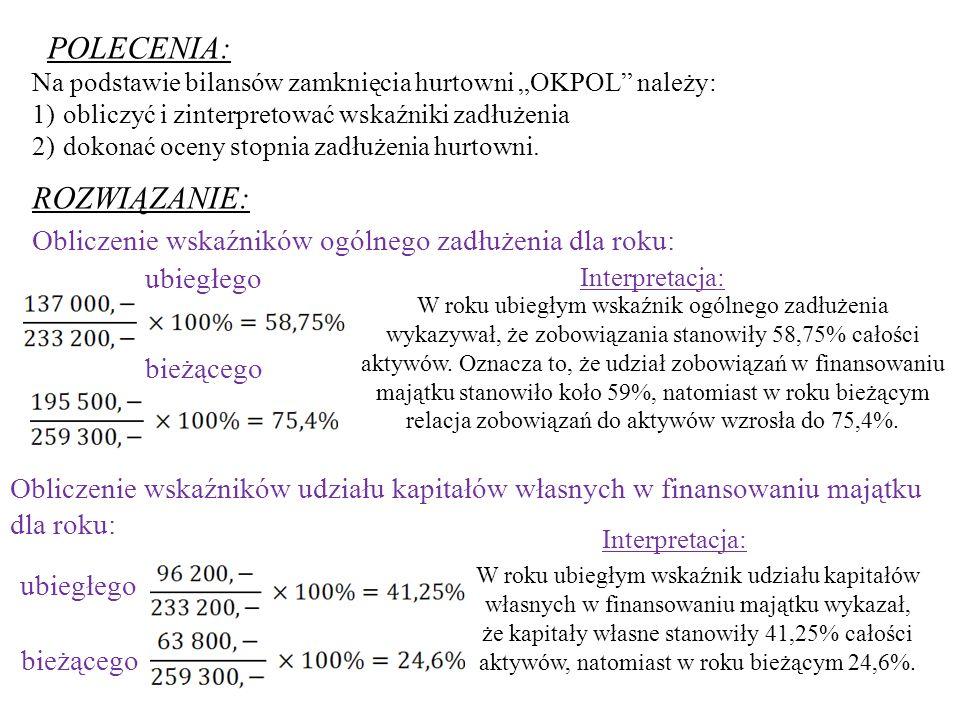 ROZWIĄZANIE: POLECENIA: Na podstawie bilansów zamknięcia hurtowni OKPOL należy: 1) obliczyć i zinterpretować wskaźniki zadłużenia 2) dokonać oceny stopnia zadłużenia hurtowni.