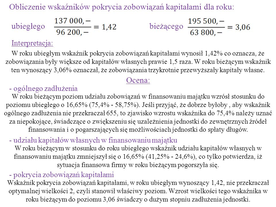 Obliczenie wskaźników pokrycia zobowiązań kapitałami dla roku: ubiegłegobieżącego Interpretacja: W roku ubiegłym wskaźnik pokrycia zobowiązań kapitała