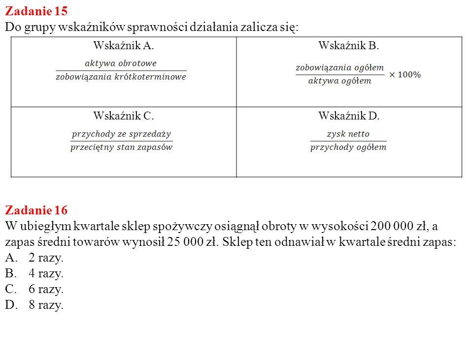 Zadanie 15 Do grupy wskaźników sprawności działania zalicza się: Wskaźnik A.Wskaźnik B. Wskaźnik C.Wskaźnik D. Zadanie 16 W ubiegłym kwartale sklep sp