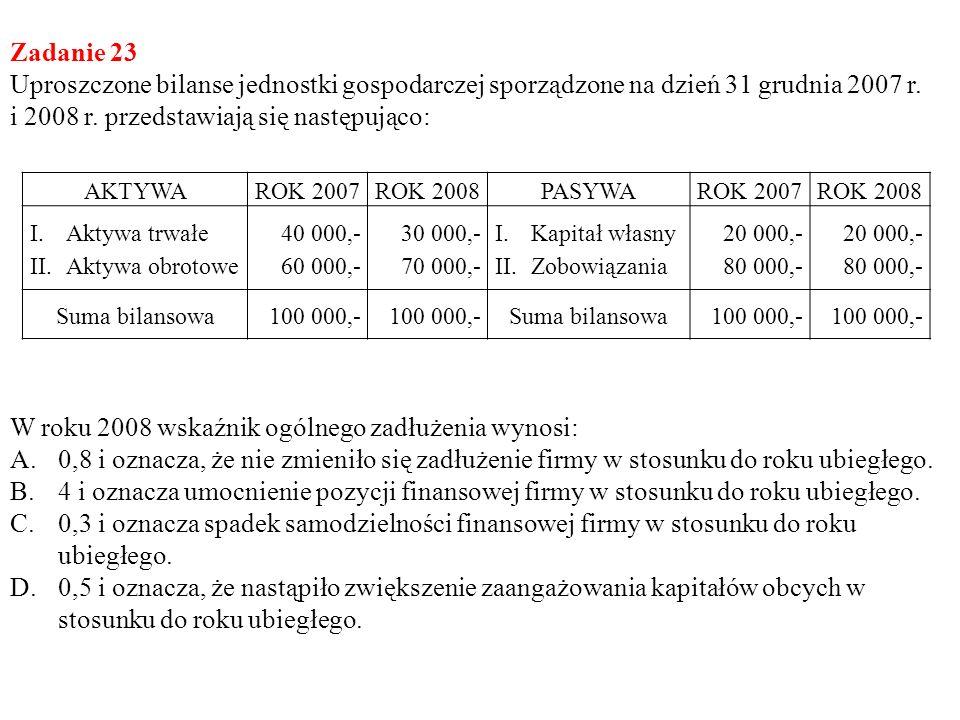 Zadanie 23 Uproszczone bilanse jednostki gospodarczej sporządzone na dzień 31 grudnia 2007 r. i 2008 r. przedstawiają się następująco: AKTYWAROK 2007R