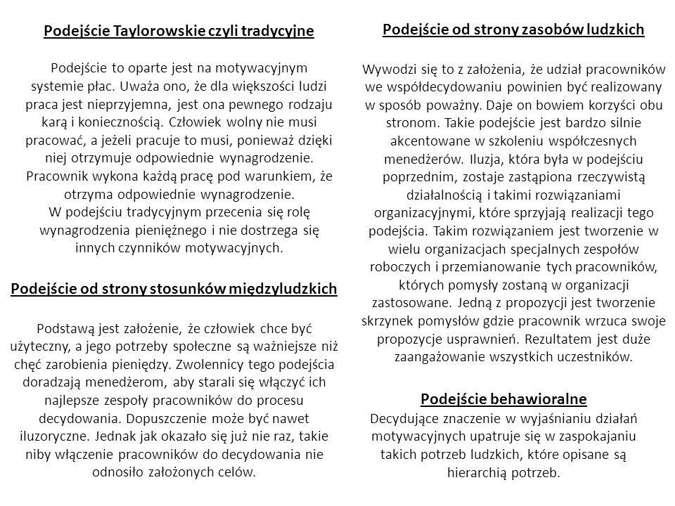 Podejście Taylorowskie czyli tradycyjne Podejście to oparte jest na motywacyjnym systemie płac. Uważa ono, że dla większości ludzi praca jest nieprzyj