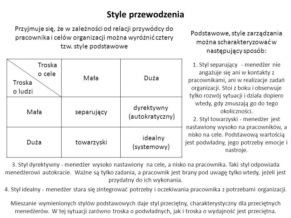 Style przewodzenia Przyjmuje się, że w zależności od relacji przywódcy do pracownika i celów organizacji można wyróżnić cztery tzw. style podstawowe T