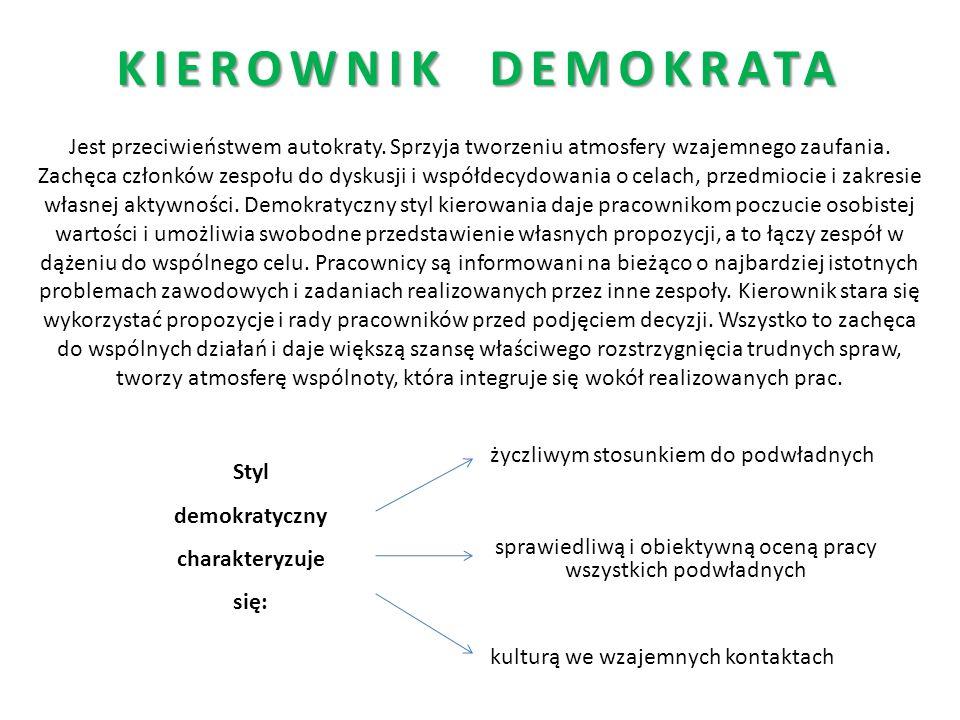 KIEROWNIK DEMOKRATA Jest przeciwieństwem autokraty. Sprzyja tworzeniu atmosfery wzajemnego zaufania. Zachęca członków zespołu do dyskusji i współdecyd