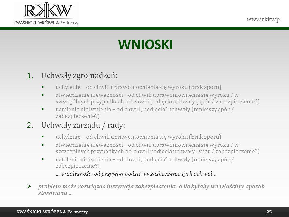 www.rkkw.pl WNIOSKI 1.Uchwały zgromadzeń: uchylenie – od chwili uprawomocnienia się wyroku (brak sporu) stwierdzenie nieważności – od chwili uprawomoc