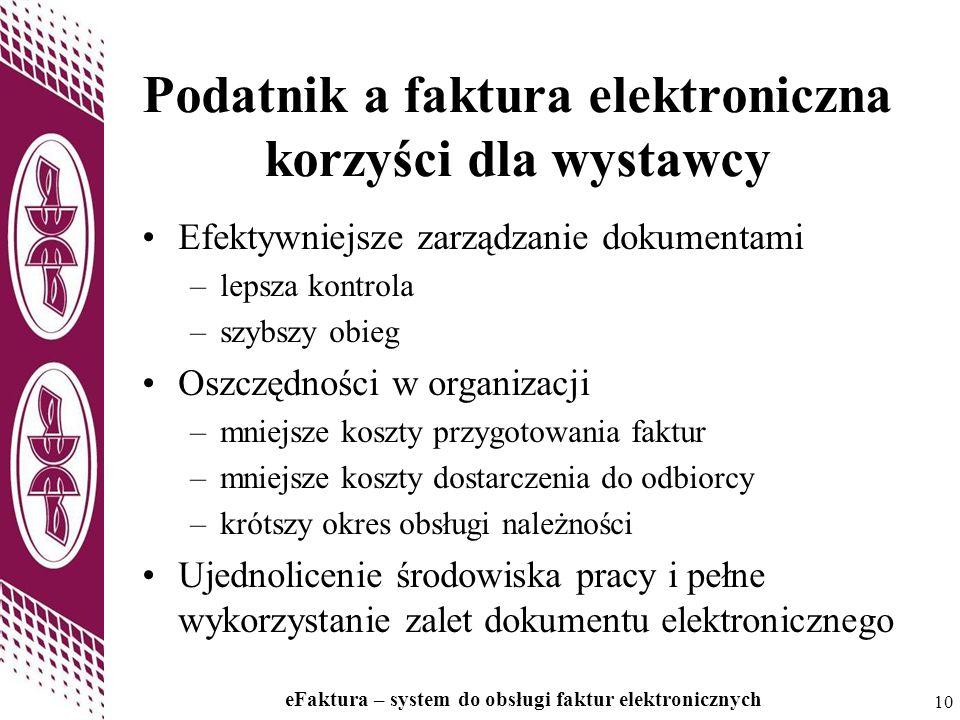 10 eFaktura – system do obsługi faktur elektronicznych 10 Podatnik a faktura elektroniczna korzyści dla wystawcy Efektywniejsze zarządzanie dokumentam