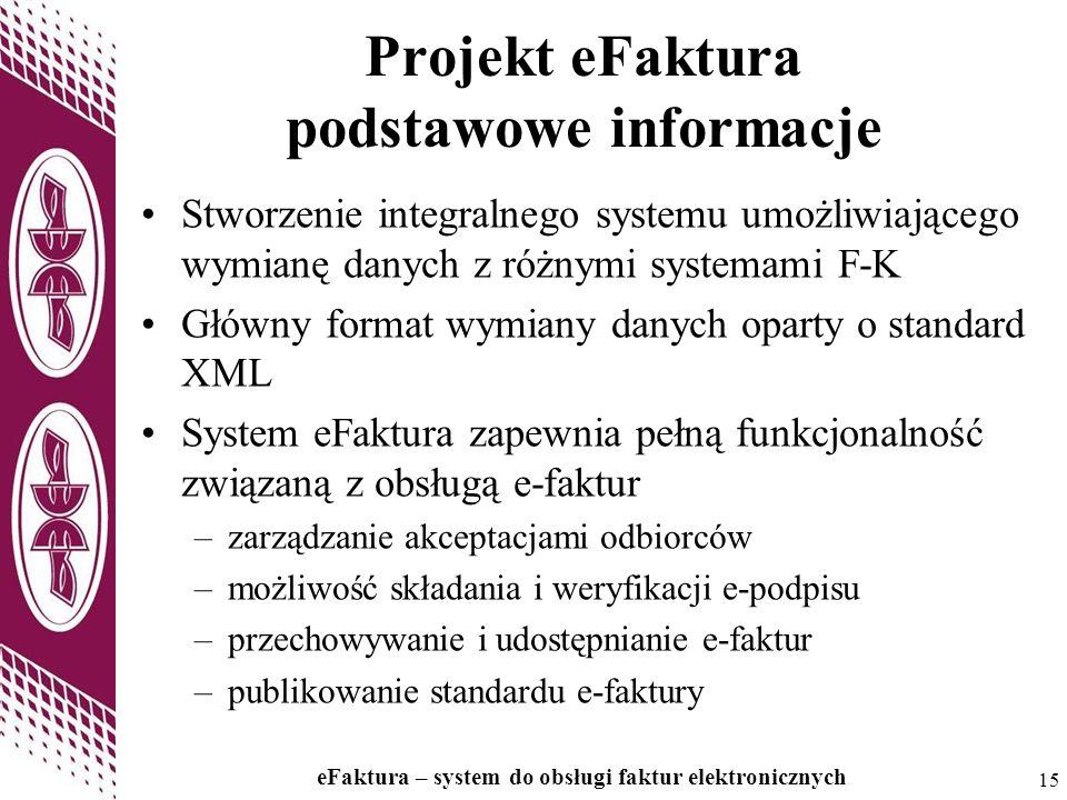 15 eFaktura – system do obsługi faktur elektronicznych 15 Projekt eFaktura podstawowe informacje Stworzenie integralnego systemu umożliwiającego wymia