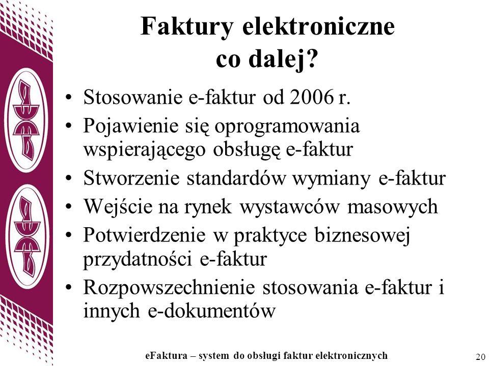 20 eFaktura – system do obsługi faktur elektronicznych 20 Faktury elektroniczne co dalej? Stosowanie e-faktur od 2006 r. Pojawienie się oprogramowania