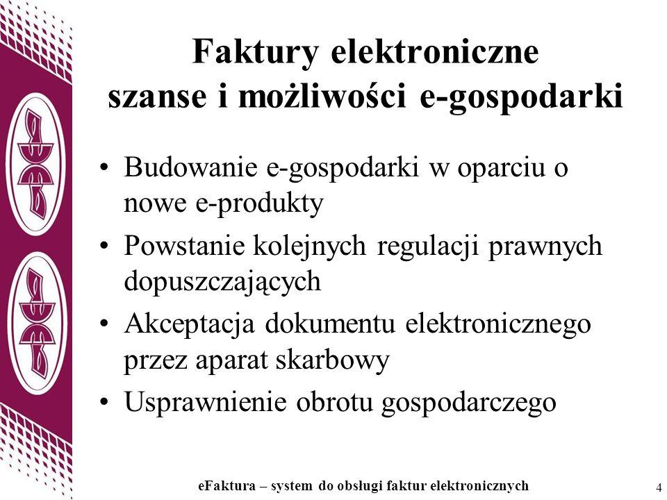 4 4 Faktury elektroniczne szanse i możliwości e-gospodarki Budowanie e-gospodarki w oparciu o nowe e-produkty Powstanie kolejnych regulacji prawnych d