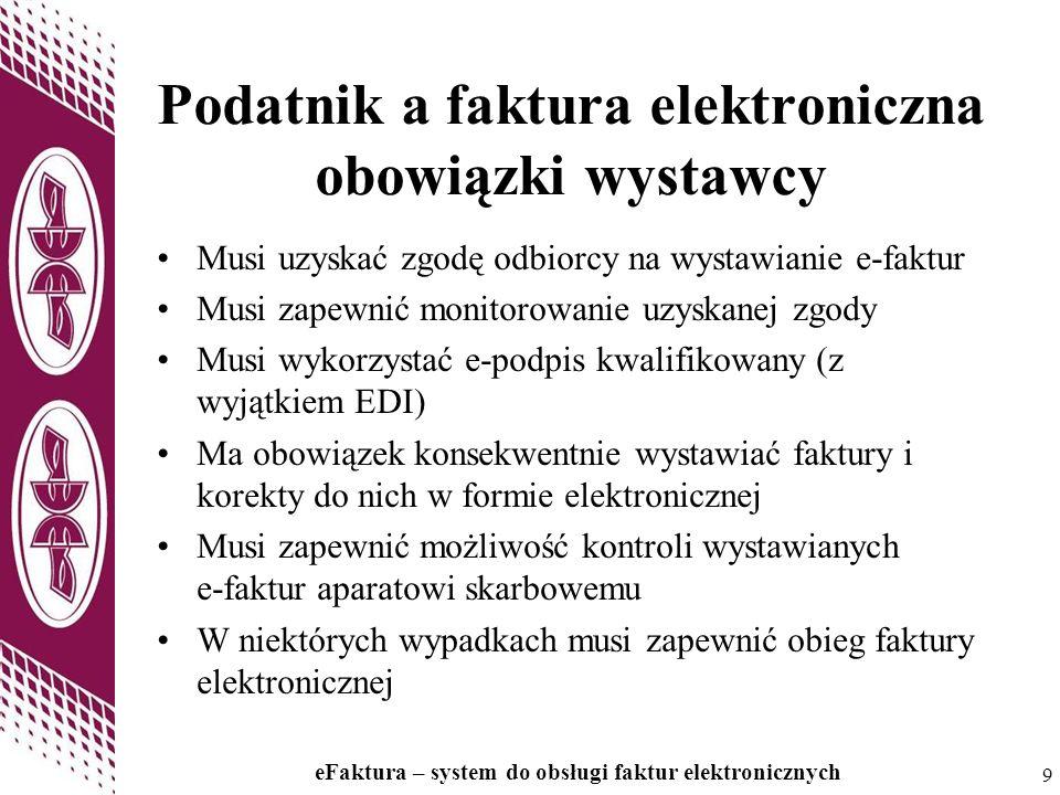 9 9 Podatnik a faktura elektroniczna obowiązki wystawcy Musi uzyskać zgodę odbiorcy na wystawianie e-faktur Musi zapewnić monitorowanie uzyskanej zgod