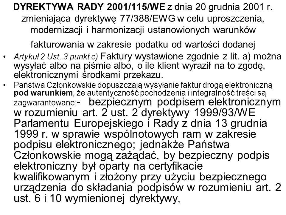 FORUM PIIT Faktura elektroniczna – standard europejskiPodpis elektroniczny jako niezbędny element faktury elektronicznej Warszawa Listopad 2004 Franciszek Wołowski Polska Wytwórnia Papierów Wartościowych tel (+48 22) 5302752 E-mail: f.wolowski@pwpw.pl