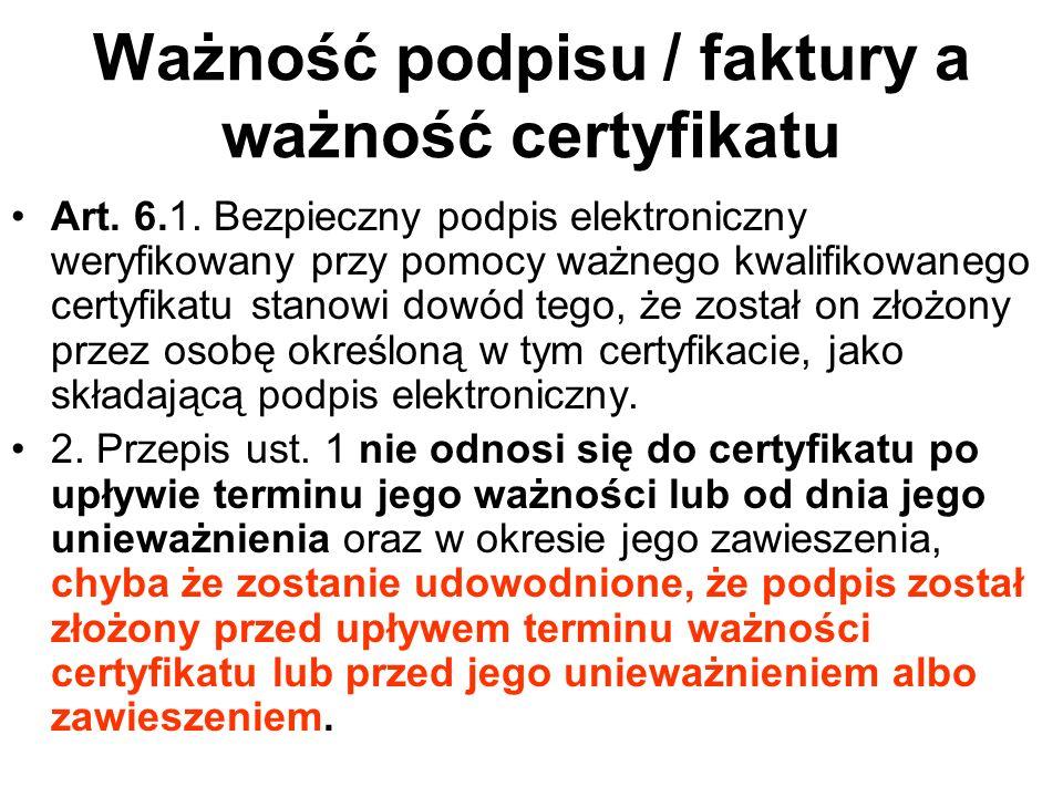 Ustawa o podpisie elektronicznym w szczególności (o znaczniku czasu) stanowi: Art7 ust 2.: Znakowanie czasem przez kwalifikowany podmiot świadczący usługi certyfikacyjne wywołuje w szczególności skutki prawne daty pewnej w rozumieniu przepisów Kodeksu cywilnego Znakowanie czasem przez kwalifikowany podmiot świadczący usługi certyfikacyjne ma również istotne znaczenie dla ważności podpisu elektronicznego – przedłuża jego ważność poza okres ważności certyfikatu.