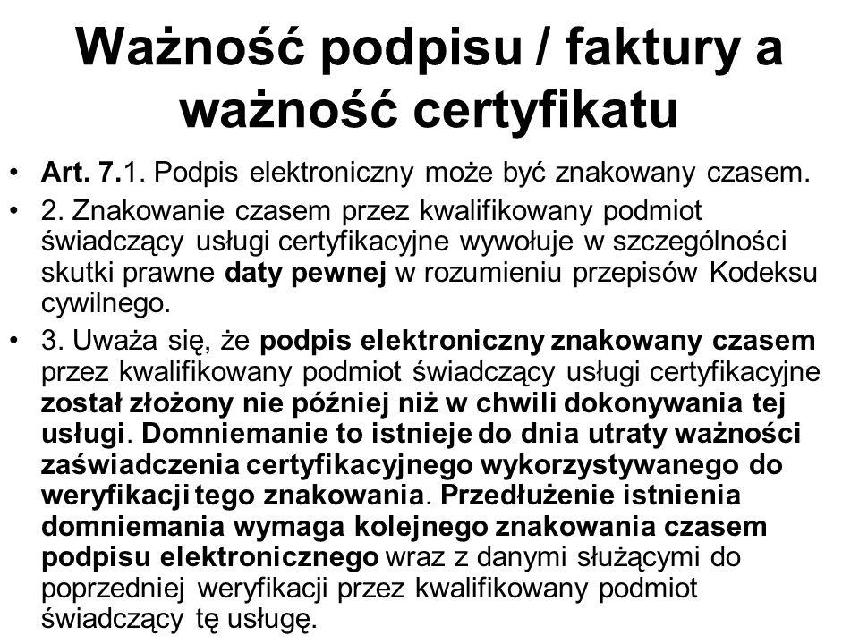Ważność podpisu / faktury a ważność certyfikatu Art.