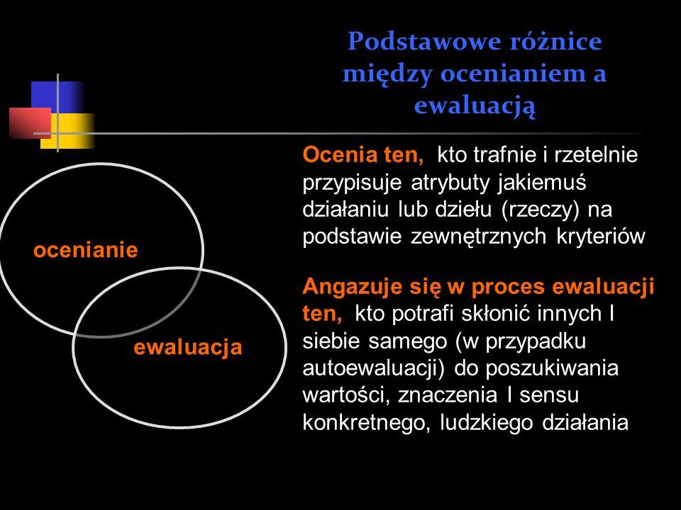 Podstawowe różnice między ocenianiem a ewaluacją Ocenia ten, kto trafnie i rzetelnie przypisuje atrybuty jakiemuś działaniu lub dziełu (rzeczy) na pod