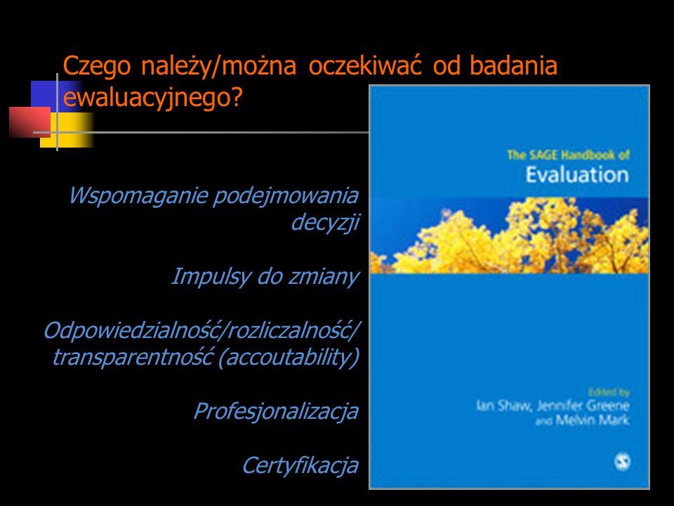 Czego należy/można oczekiwać od badania ewaluacyjnego? Wspomaganie podejmowania decyzji Impulsy do zmiany Odpowiedzialność/rozliczalność/ transparentn