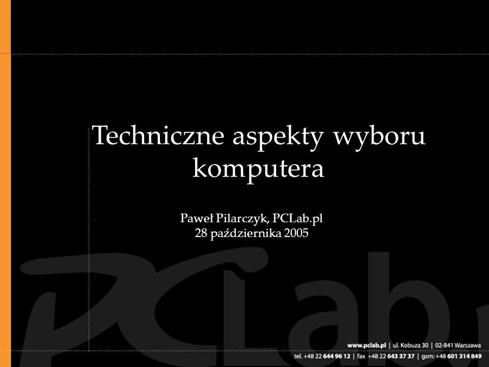 .01: Cel: wybór optymalnego komputera do konkretnych zastosowań Komputer powinien być jak najwydajniejszy Powinien być dopasowany do swojego przeznaczenia Nowoczesna konfiguracja komputera powinna umożliwić jego modernizację w przyszłości (więcej pamięci RAM, pojemniejszy dysk twardy itp.) Powinien zapewniać wysoki komfort pracy