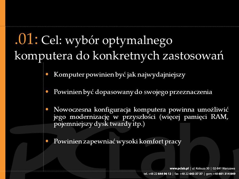 .02: Kluczowe komponenty komputera Procesor Płyta główna Pamięć operacyjna (RAM) Dysk twardy Karta graficzna Dobrej jakości monitor, klawiatura i mysz znacznie poprawiają komfort oraz efektywność pracy!